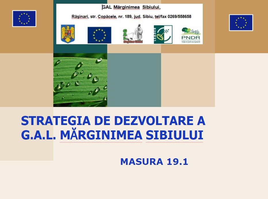 STRATEGIA DE DEZVOLTARE A G.A.L. MĂRGINIMEA SIBIULUI MASURA 19.1